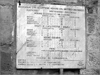 Lapide in marmo (1862) con incise le antiche misure comparate con il sistema metrico decimale