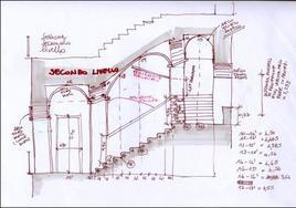 Eidotipo in sezione per il rilevamento di una scala aperta di un palazzo napoletano
