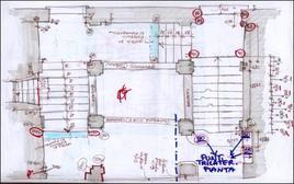 Eidotipo in pianta per il rilevamento di una scala aperta di un palazzo napoletano