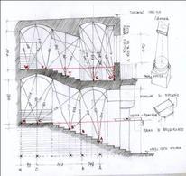 Schizzo in sezione per il rilevamento di una scala di un palazzo napoletano