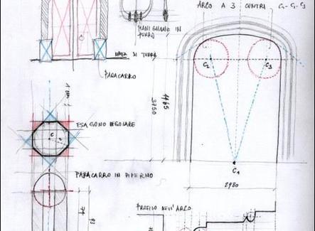Schizzi di studio relativi ad un portale di un palazzo napoletano. Fonte: elaborati del corso di Rilievo dell'Architettura, prof. A. di Luggo