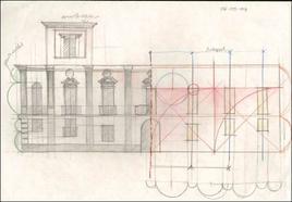 Schizzi di studio sulla facciata di un palazzo napoletano
