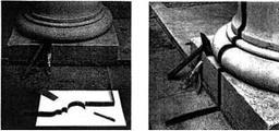 Fascia di piombo sagomata sulla base di una colonna