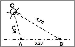 Fig. 4: Restituzione del punto C con il metodo della trilaterazione