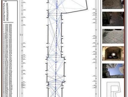 Tavola del rilievo metrico. Fonte: elaborati del corso di Applicazioni di Geometria e Rilievo dell'Architettura, prof.ssa A. di Luggo