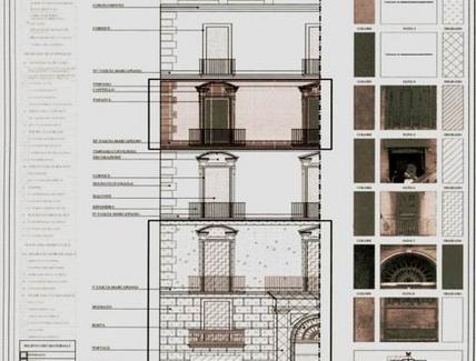 Tavole relative al rilievo dei materiali e del colore. Fonte: elaborati del corso di Applicazioni di Geometria e Rilievo dell'Architettura, prof.ssa A. di Luggo
