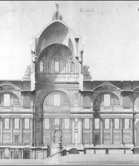 G. Soufflot, Coupe sur la longueur de la nouvelle Eglise de Sainte-Geneviève, 1764 ca