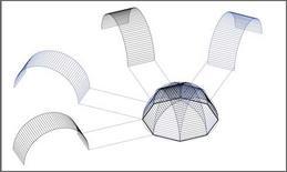 Fig. 1: Genesi geometrica della volta a padiglione su base ottagonale. Fonte: Disegno di A. Paolillo