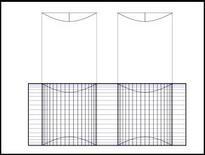 Intersezione della volta a botte con due volte a botte ortogonali di diametro inferiore (dall'alto). Fonte: Disegno di A. Paolillo