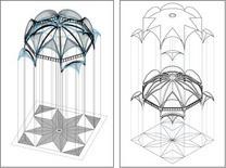 Volta ad ombrello, opera di Guillermo Sagrera nella Sala dei Baroni in Castel Nuovo a Napoli. Fonte: Disegni di A. Paolillo