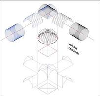 Genesi geometrica della volta a crociera a partire da due cilindri uguali ma ortogonali tra loro. Fonte: Disegno di A. Paolillo