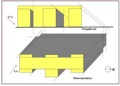 Prospetto con ombre e planovolumetrico (luce proveniente da sud-est)