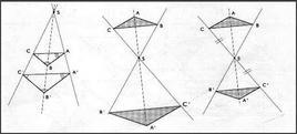 Da sinistra: omotetia diretta, omotetia inversa, omotetia inversa simmetrica