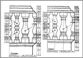 Balaustre dell'ordine corinzio e dorico. Fonte: R. Citham, Gli ordini classici in Architettura, Hoepli