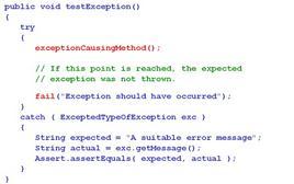 Catturare l'eccezione e utilizzo di fail() se non viene generata.