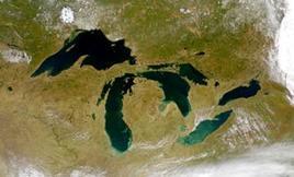 Grandi laghi visti dal satellite ed il bacino del fiume San Lorenzo