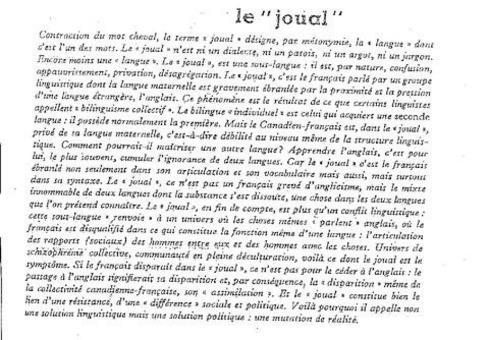 LE JOUAL di Paul Chamberland, Les Lettres nouvelles, N° spécial « Ecrivains du Canada », Paris, 1967
