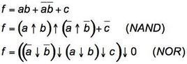 Esempio: funzioni NAND e NOR