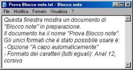 Una finestra di blocco note