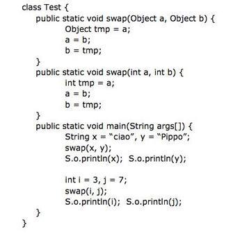 Data la seguente classe d'esempio, commentarne l'output.