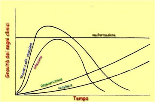 La relazione intercorrente tra gravità dei segni clinici e tempo, rilevabile spesso al racconto anamnestico, può essere di aiuto all'orientamento diagnostico.