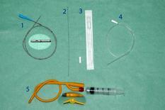 1 e 2) catetere flessibile con scala centimetrica, 3) catetere per gatto libero ed in confezione sterile, 4) catetere semirigido in PVC; 5) catetere di Foley (con estremità gonfiabile per essere lasciato temporaneamente inserito).