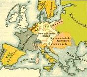 L'Europa dopo la Restaurazione in una carta dell'Ottocento
