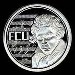 Un ECU che ritrae Beethoven emesso dalla Bundesbank nel 1993