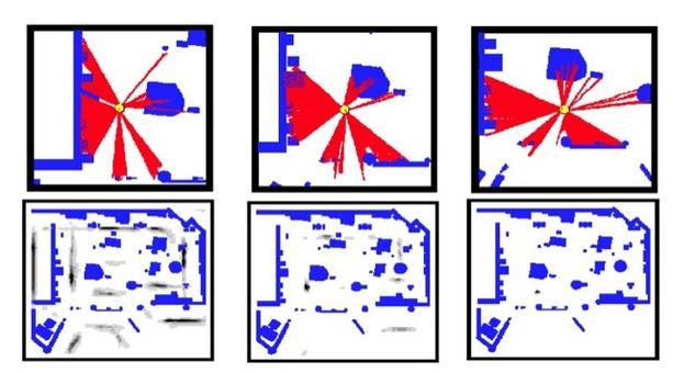 Gridmap risoluzione 15 cm, 15 g, 2LRF, beam model. Posizione dopo 3 scan.