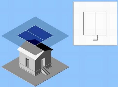 La pianta delle coperture e sua rappresentazione secondo le consuete convenzioni grafiche