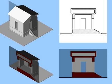Sezione verticale longitudinale: individuazione dell'area sezionata, Immagine realistica e convenzionale