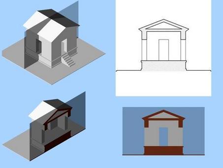 Sezione verticale trasversale: individuazione dell'area sezionata, immagine realistica e convenzionale