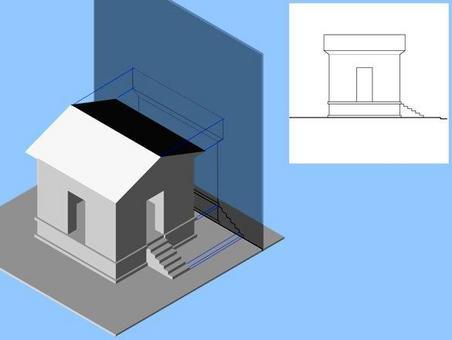 Prospetto laterale: piano di proiezione esterno all'oggetto; rappresentazione grafica convenzionale