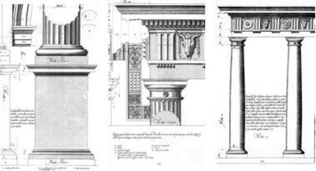 Vignola, Regola…, piedistallo, trabeazione e colonnato dell'ordine dorico