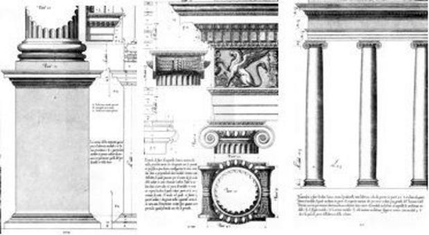 Vignola, Regola…, piedistallo, trabeazione e colonnato dell'ordine ionico