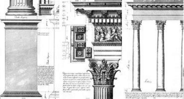Vignola, Regola…, piedistallo, trabeazione e colonnato dell'ordine corinzio
