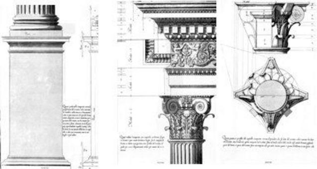 Vignola, Regola…, piedistallo, trabeazione e colonnato dell'ordine composito