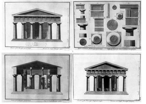 Major T., Tavole analitiche dal The Ruins of Paestum, 1768