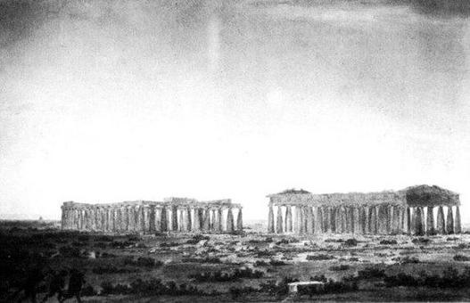 Cozens J. R., I tre templi di Paestum, 1782