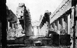 Viollet-le-Duc E., Interno del tempio di Nettuno, 1836