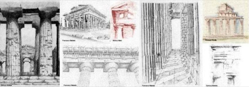 Paestum, i templi. Fonte: elaborati dal vero da allievi del corso