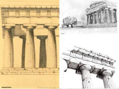 Paestum, Tempio di Nettuno, matite e penna