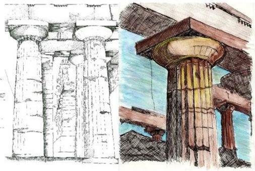 Paestum, Tempio di Nettuno, penna, pastelli acquarellati
