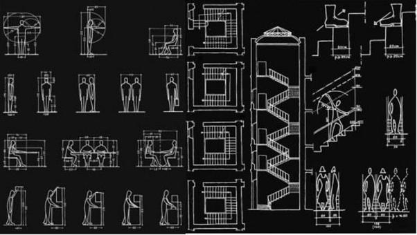 Proporzioni tipo del corpo umano e relativo utilizzo nel dimensionamento architettonico