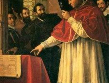 J. Chimenti, Michelangelo presenta a Leone X i modelli della facciata di S. Lorenzo, 1619