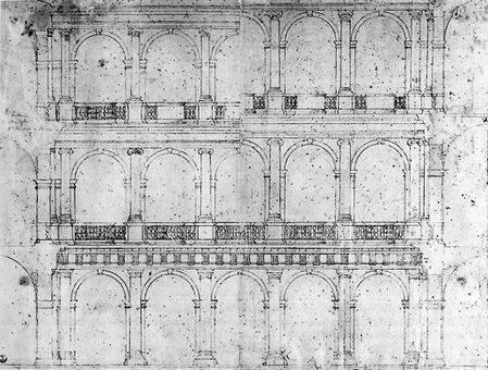 Antonio da Sangallo il Giovane, Progetto del cortile di Palazzo Farnese a Roma, 1514