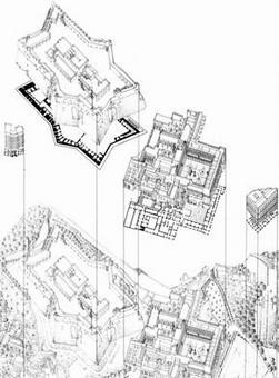 Baculo A., Assonometria ed esploso della Certosa di San Martino e di Castel S. Elmo