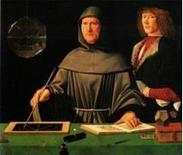 Jacopo De' Barbari, Ritratto di Fra Luca Pacioli con un allievo, 1495