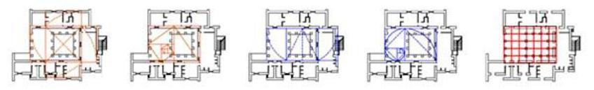 L. Cosenza, Villa Cernia, 1967. Schemi di sistema di proporzionamento statico e dinamico