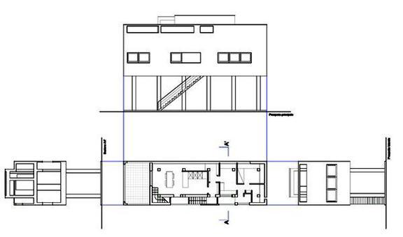 Figini e Pollini, Casa al Villaggio dei giornalisti. Pianta del primo piano, prospetti e sezione